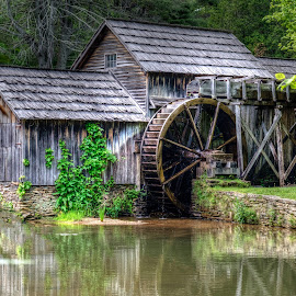 Mabry Mill by Richard Friedkin - Buildings & Architecture Bridges & Suspended Structures ( water, mill, reflection, waterscape, water wheel )