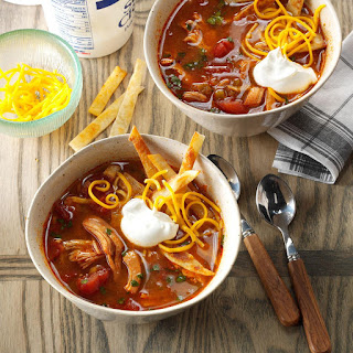 Slow-Cooked Chicken Enchilada Soup.