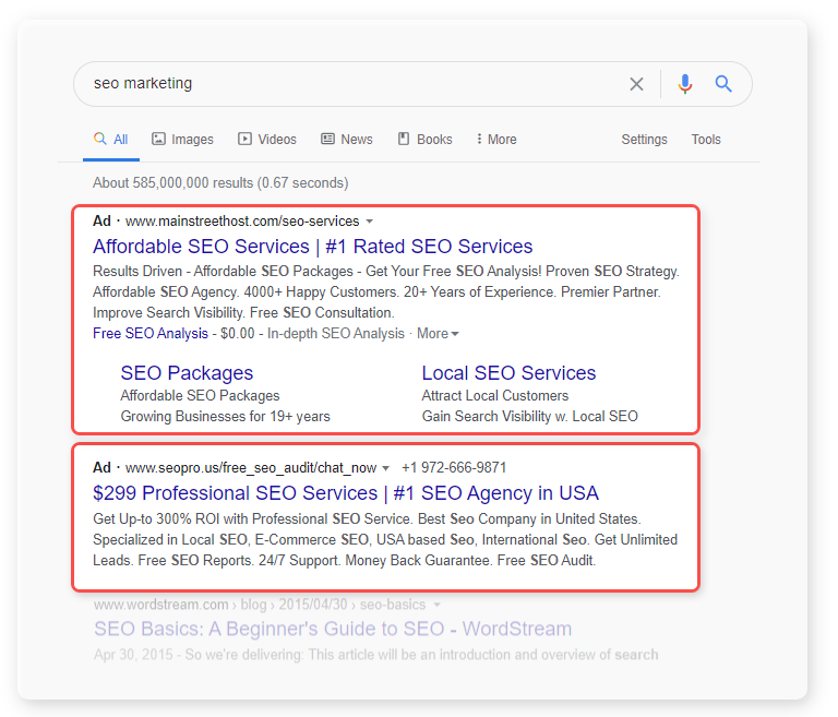 paid ads on google - seo