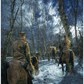Chill Stride by Peter Rollings - Digital Art People ( horse, cavalry, forest, soldier, snow, composite, wwi, snowing, rider, digital art )