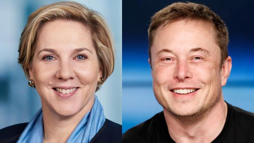 Tesla's new chairperson Robyn Denholm and CEO Elon Musk.