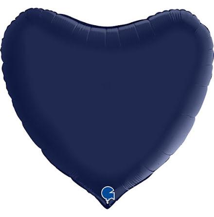 Folieballong Hjärta Satin - blue navy, 91 cm