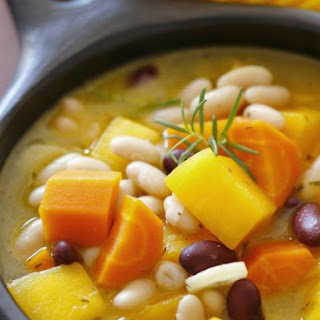 Autumn Vegetable Soup with Beans, Carrots and Pumpkin