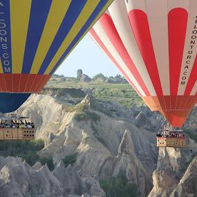 Capadocia Baloon by Mylene Rizzo - Transportation Other ( flying colors, baloon, turkey, flying, landscape )
