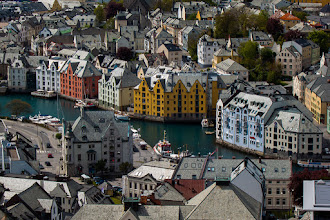 Photo: The town of Ålesund, at the Northwest coast of Norway. Famous for it's jugend style architecture - a result of the rebuilding of the town after the big fire in 1904, which virtually destroyed it entirely.