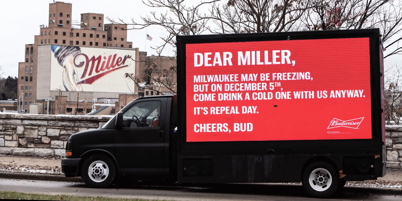 Budweiser truck-side ad