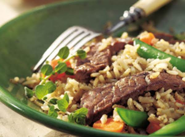 Skillet Beef, Veggies And Brown Rice Recipe