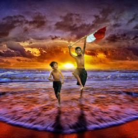 by Charles Mawa - Digital Art People ( child, freedom, charlesmawa, sunset, digital art, yellow, sunrise, beach )