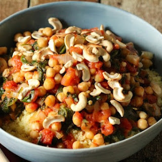 Chickpea and Spinach Couscous with Cashews