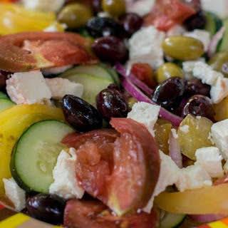 Greek Farmers Salad with Heirloom Tomatoes.