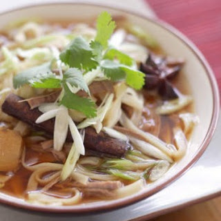 Vietnamese Pho soup with brisket and noodles.