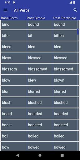 English Verb Forms Dictionary screenshots 1