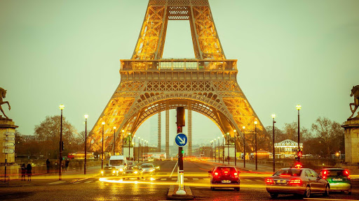 eiffel-tower-long-exposure.jpg -  A time lapse of the base of the Eiffel Tower in Paris.