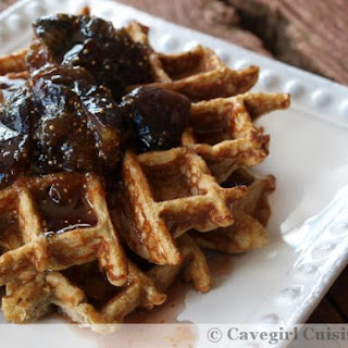 Vanilla Cake Batter Waffles with Fig-Maple Syrup