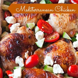 Mediterranean Chicken Thighs Sheet Pan Dinner.