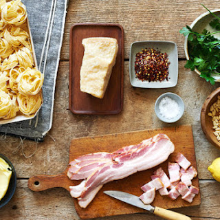Pasta With Bacon, Cheese, Lemon and Pine Nuts