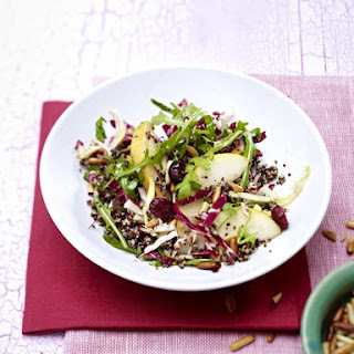 Quinoa, Cranberry and Pear Salad with Spring Greens.