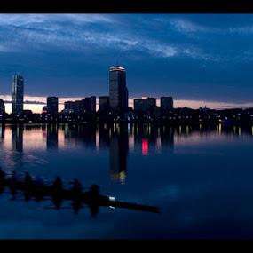 MIT Crew by Jerzy Szablowski - Landscapes Sunsets & Sunrises ( boston, crew, mit, boat, massachusetts, cambridge, river )