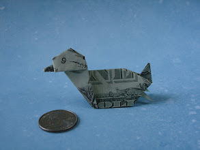 Photo: Model: Duck;  Creator: John Montroll;  Folder: William Sattler;  1 dollar;  Publication: Dollar Bill Animals In Origami (John Montroll) ISBN 0-486-41157-5