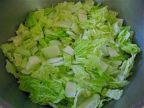 Photo: cut napa cabbage for soup