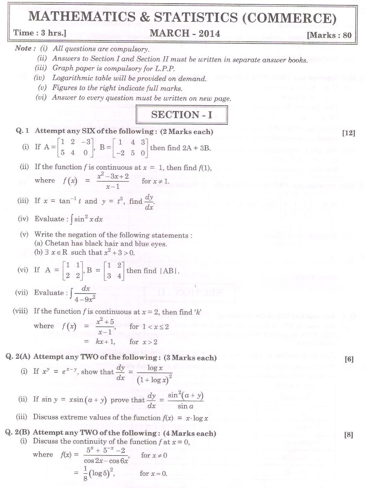 Omtex classes hsc commerce maths march 2014 board question paper hsc commerce maths march 2014 board question paper malvernweather Gallery