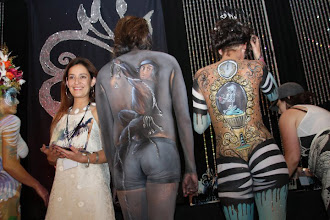 Photo: Artist Paola Gallardo from http://www.BestPartyPlanner.net  with her Body Paint design at FABAIC 2010.