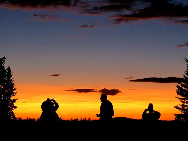 Enjoying a fine sunset at camp