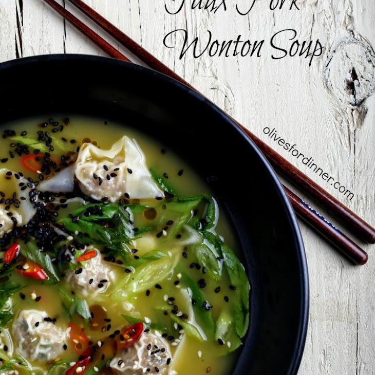 Faux Pork Wonton Soup with Bok Choy Recipe