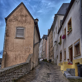 Narrow And Tricky by Marco Bertamé - City,  Street & Park  Neighborhoods ( uphill, narrow, street, grund, pave stone, luxembourg,  )