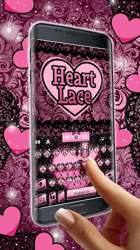 Pink Lace Heart Keyboard Theme screenshots 2