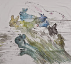 """Photo: Joanna Dobranowska """" W zielonym lesie..."""" obraz malowany na tkaninie"""