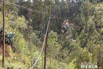 Photo: Getting down the ziplines.