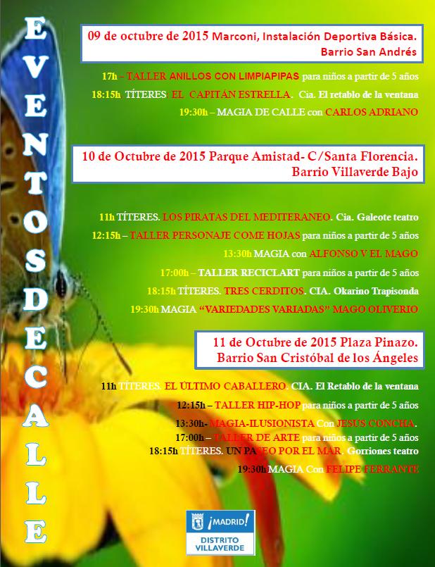 Cartel de programación de shows en octubre 2015 Villaverde
