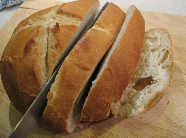 Remove bread from oven and slice to serve with chowder.