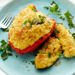 Risotto Stuffed Peppers and Zucchini.