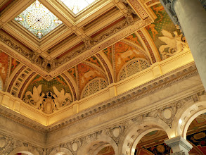 Photo: The ceiling and stained glass panels in the roof over the main entrance to the Library of Congress.