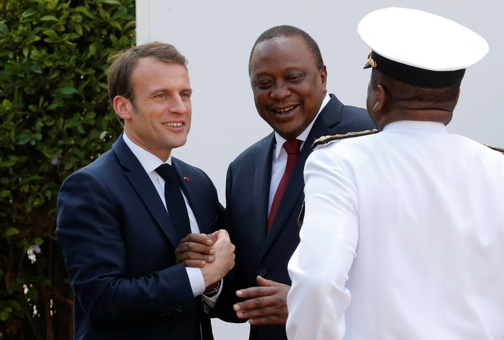 [PHOTOS] French President Macron begins Kenyan visit, honoured with 21-gun salute