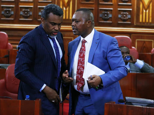 Director of Public Prosecution Noordin Haji (L) with Director of Criminal Investigations George Kinoti before Senate Justice and Legal Affairs Committee on the progress made in the multi-agency fight against corruption and economic crimes, August 29, 2018.