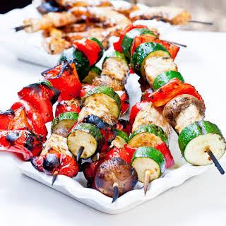 Swordfish and Vegetable Kebabs.