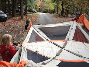 Photo: We had to switch sites for night 2 so we carried the tent down the road
