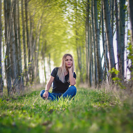 Enjoying Spring Outdoors by Tinu Coman - People Portraits of Women ( spring, outdoor, forest, zen, woman, young, trees, content )