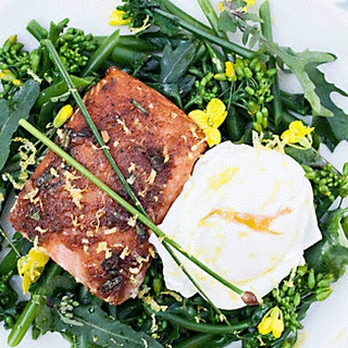 Happy Mother's Day Brunch - Kale Bud Salad with Smoked Salmon and Poached Egg.