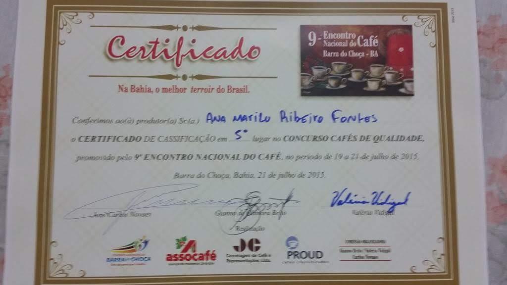 5º lugar no Concurso de Cafés de Qualidade - Barra da Choça, Bahia.