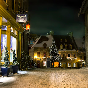 Quebec City by Maggie B - City,  Street & Park  Historic Districts ( lights, history, winter, canada, snow, night )