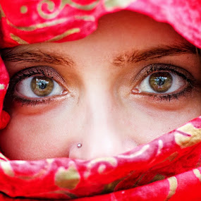Eyes of the World 2. by Diána Barócsi - People Body Parts ( red, eye lashes, piercing, eyebrows, nose, kerchief, eyes )