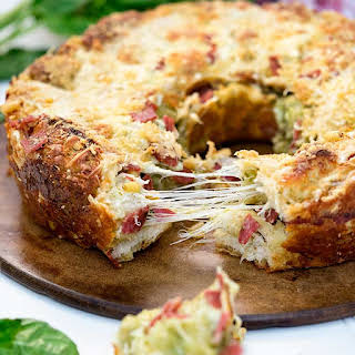 Pesto, Salami Pull Apart Cheese Bread.