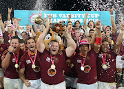 University of Stellenbosch, also known as Maties, celebrate during the FNB Varsity Cup Final match North West University at Danie Craven Stadium on March 16, 2018 in Stellenbosch, South Africa.