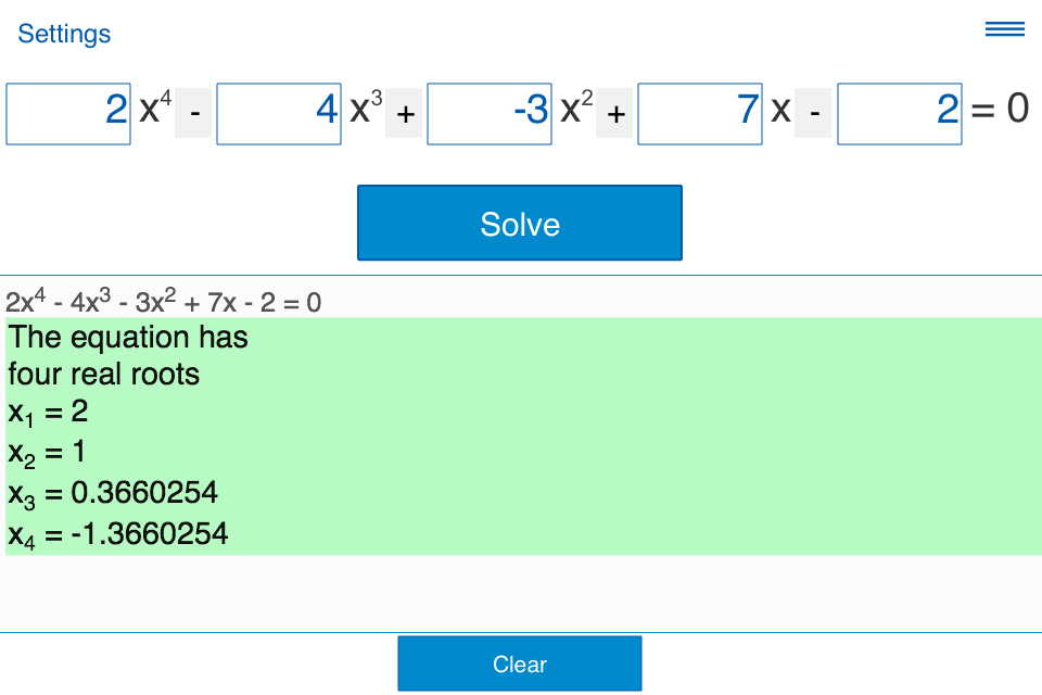 how to find roots of 4 degree equation in calculator