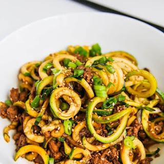 Chinese Five Spice Ground Turkey Zucchini Noodles.