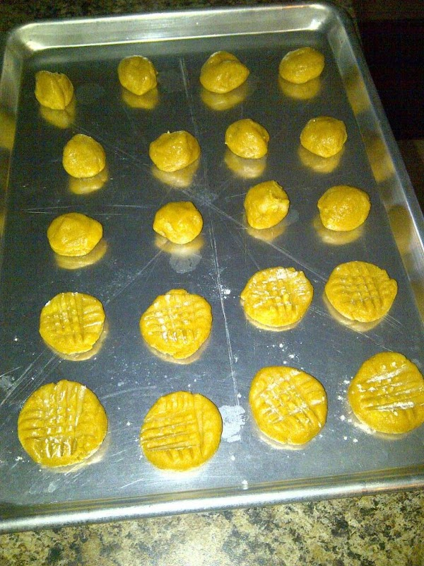 Put on cookie sheet, leaving space in between. Dip fork into flour or sugar...